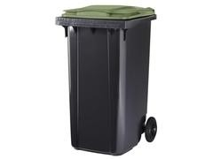 Contenedor basura 2 ruedas de goma 240 l gris verde