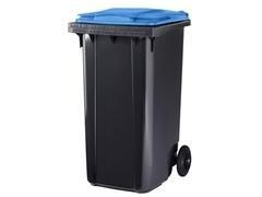 Contenedor basura 2 ruedas de goma 240 l gris azul