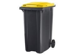 Contenedor basura 2 ruedas de goma 340 l gris amarillo