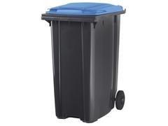 Contenedor basura 2 ruedas de goma 340 l gris azul