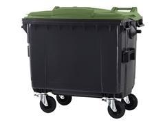 Contenedor basura 4 ruedas de goma con freno 660l gris verde