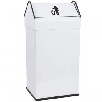 BUNZL Papelera metálica blanca con tapa basculante 26x32x68cm. Capacidad 40l
