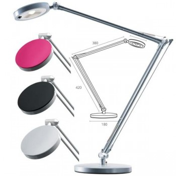 Lámpara de led Led4you color plata con 3 cabezales intercambiables plata, negro y fúcsia