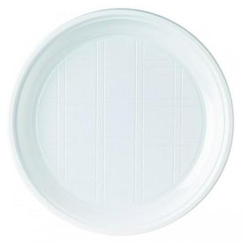 Pack 100 platos de plástico 215mm color blanco