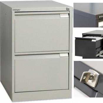 Archivador metálico BS Premium 2 cajones de archivo. Fº. Tirador integrado 470x711x622mm. Gris