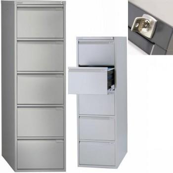 Archivador metálico BS Premium 5 cajones de archivo. Fº. Tirador integrado 470x1511x622mm. Gris