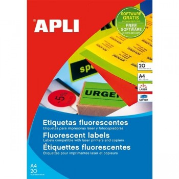 APLI Etiqueta i/l/c redonda diam.60 fluorescente 20h. DIN-A4 AMARILLO