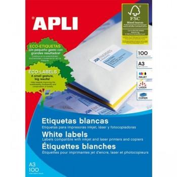 APLI Etiqueta i/l/c adh.perm.c/recto A3 c-100 (297x420mm 100unds)