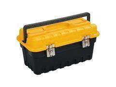 Caja herramientas polipropileno cierres metálicos 458x233x247 mm tapa amarilla