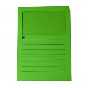5STAR Pack 100 subcarpetas con ventana A4 color verde