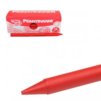 Estuche 25 Ceras Plásticas plastidecor rojo