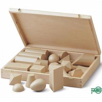 Caja de 25 cuerpos geometricos plástico imitacion madera