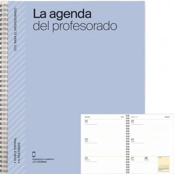 Agenda profesorado semana a la vista planificación evaluacion hojas indexadas y Funda