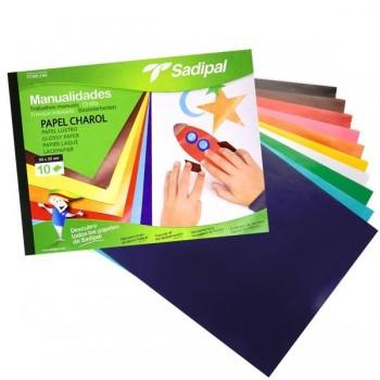 Bloc 10 hojas papel charol 32x24cm colores surtidos