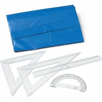 Bolsa Estuche Regla 30cm Escuadra 45º 25cm cartabón 60º de 25cm semicirculo 15cm en bolsa pvc tipo p