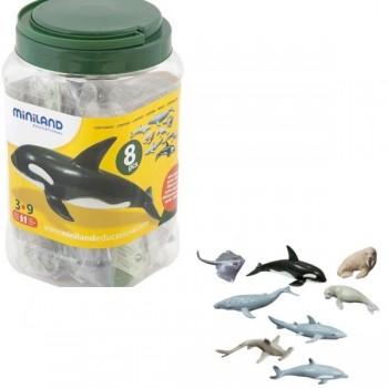 Bote con asa con 8 figuras animales marinos