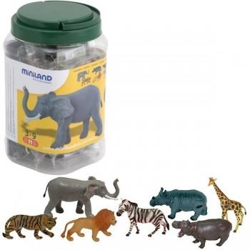 Bote con asa con 7 figuras animales de la selva