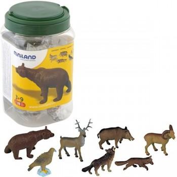 Bote con asa con 8 figuras animales del bosque