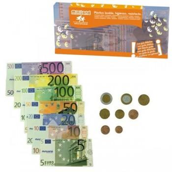Cartera 28 billetes + 80 monedas de plástico lavable y resistente tamaño real