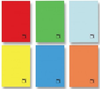 Libreta grapada PACSA cuarto 70gr 50h cuadricula pauta 2,5 colores surtidos