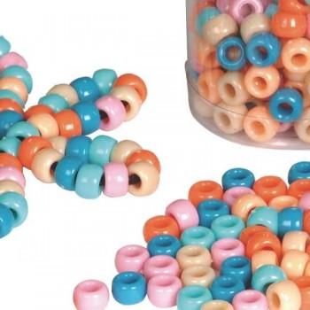 Bote 300 abalorios pl stico color pastel 5 colores surtidos