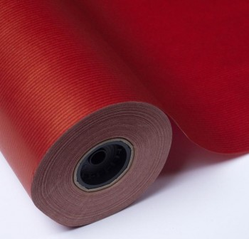Bobina 10kg papel kraft verjurado 65gr color rojo