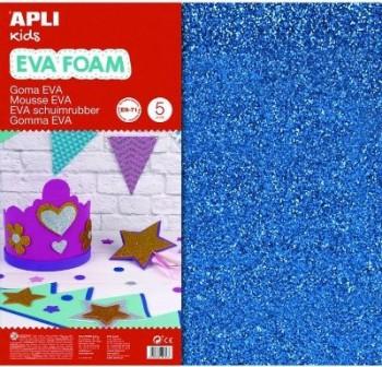 Bolsa 3 l minas de goma eva purpurina de 2 mm 60x40 cm azul