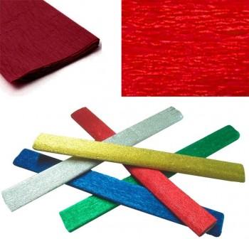 Rollo papel crespón metalizado 0,5x2,5m 35gr rojo