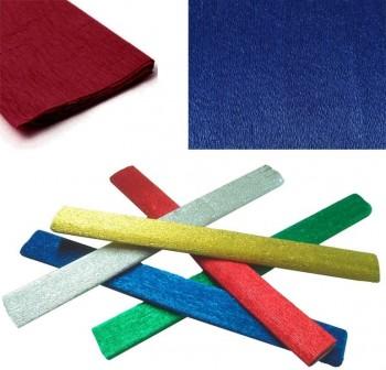 Rollo papel crespón metalizado 0,5x2,5m 35gr azul