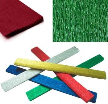 Rollo papel crespón metalizado 0,5x2,5m 35gr verde