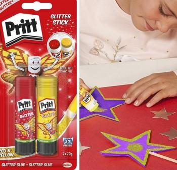 Purpurina adhesiva en barra Pritt Glitter 20gr pack rojo y amarillo