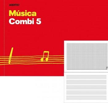 Cuaderno de música combi 5. Contenido: alterna hoja de 5 pentagramas de 16 mm  24 x 17 cm.