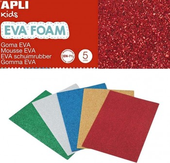 Bolsa 5 láminas de goma eva purpurina de 2mm 40x60 cm colores surtidos