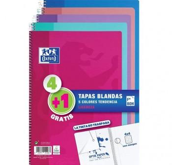 Oxford Pack 4+1 cuadernos tapa cartón 80h 90g cuadrícula 4X4 Folio colores tendencia