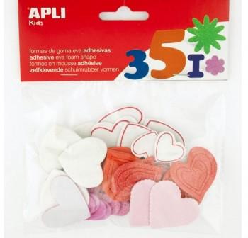 Apli Bolsa 52 formas adhesivas goma eva Corazones purpurina