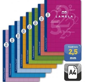 Lamela Libreta grapada 50h 70g cuadrovía 2,5mm A4 colores surtidos