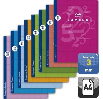 Lamela Libreta grapada 50h 70g cuadrovía 3mm A4 colores surtidos