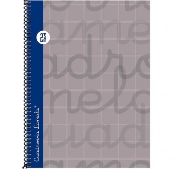 Lamela  Cuaderno tapa forrada 80h 70g cuadrovía 2,5mm 4º gris