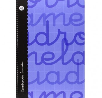 Lamela  Cuaderno tapa forrada 80h 70g cuadrovía 4mm Folio azul