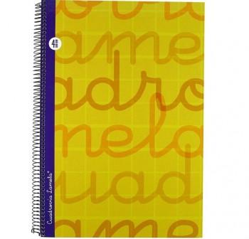 Lamela  Cuaderno tapa forrada 80h 70g cuadrovía 4mm Folio amarillo