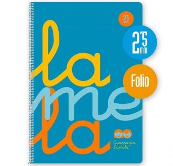 Lamela Cuaderno tapa polipropileno 80h 90g cuadrovía 2,5mm Folio azul flúor