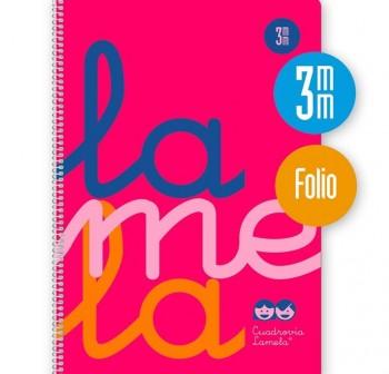 Lamela Cuaderno tapa polipropileno 80h 90g cuadrovía 3mm Folio rosa flúor