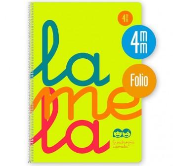 Lamela Cuaderno tapa polipropileno 80h 90g cuadrovía 4mm Folio amarillo flúor