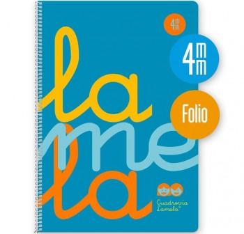 Lamela Cuaderno tapa polipropileno 80h 90g cuadrovía 4mm Folio azul flúor