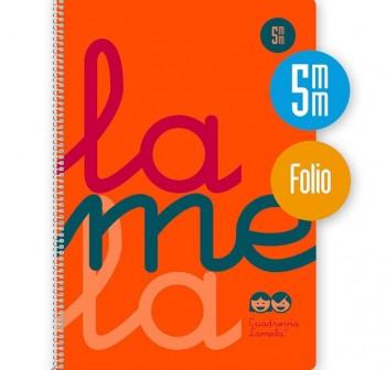 Lamela Cuaderno tapa polipropileno 80h 90g cuadrovía 5mm Folio naranja flúor