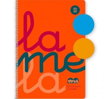 Lamela Cuaderno tapa polipropileno 80h 90g cuadrovía 3mm 4º naranja flúor