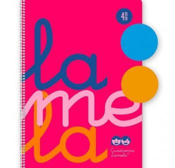 Lamela Cuaderno tapa polipropileno 80h 90g cuadrovía 3mm 4º rosa flúor