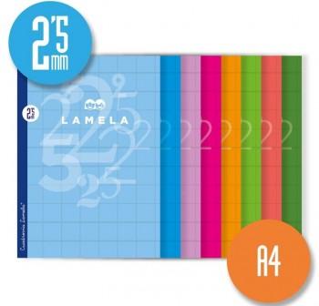Lamela Libreta grapada 50h 70g cuadrovía 2,5mm 4º colores surtidos