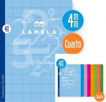 Lamela Libreta grapada 50h 70g cuadrovía 4mm 4º colores surtidos