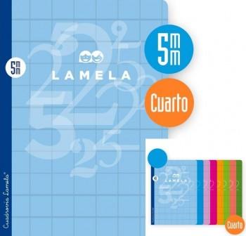 Lamela Libreta grapada 50h 70g cuadrovía 5mm 4º colores surtidos